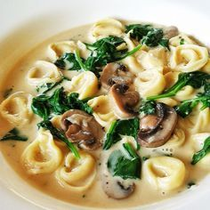 Chicken, spinach, tortellini soup
