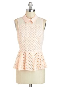 The King's Peach Top - Mid-length, Orange, Eyelet, Work, Daytime Party, Pastel, Peplum, Sleeveless, Collared
