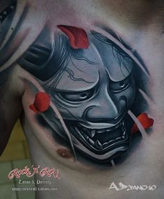 3d hanya mask by A.D.Pancho | japanese tattoos