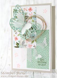 Stempel-Biene: Geburtstagskarte mit Designerpapier Geburtstagsstr...