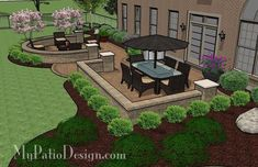 of colorful pavers and tumbled patio block together create this Dreamy Paver Patio Design with Seat Wall. 2 Areas for large patio table and fire pit. Backyard Patio Designs, Small Backyard Landscaping, Landscaping Ideas, Backyard Ideas, Sloped Backyard, Back Yard Patio Ideas, Landscaping Around Deck, Mulch Landscaping, Small Patio