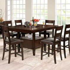 9ee3d893ce29 Steve Silver 7 Piece Gibson Square Storage Dining Set with Straight Back  Upholstered Chairs - Espresso - Whether you prefer classic dining table  height or ...
