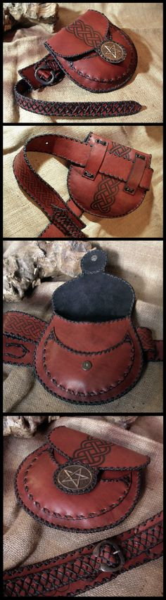 Leather waist pouch and belt by morgenland.deviantart.com on @deviantART