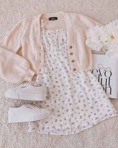 Be a Wildflower White Floral Print Tie-Strap Mini Dress Girl Outfits DRESS Floral Mini print TieStrap White Wildflower Cute Casual Outfits, Girly Outfits, Cute Summer Outfits, Retro Outfits, Hipster Outfits, Summer Clothes For Girls, Cute Kids Outfits, Outfits For Spring, Outfit Ideas Summer