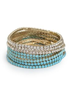 We took the guesswork out of building the perfect bracelet stack for you. With aquatic inspired gems in teal, turquoise and clear, who could ask for anything more?