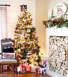 Family Christmas Tree with traditional ornaments - Golden Boys and Me Holiday Home Tour 2017