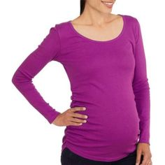 Planet Motherhood Maternity Long Sleeve Scoop Neck Tee With Flattering Side Ruching--Available in Plus Size, Size: 3XL, Purple