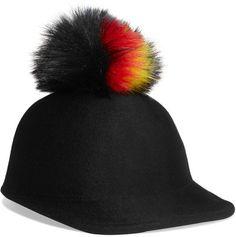 2b2216baa17 Eugenia Kim - Bo Faux Fur-trimmed Wool-felt Cap - Black
