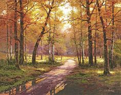 Autumn Scenery series I - Original Oil Painting Archival Print - Landscape, Trees, Forest, Environmental, Sunny on Etsy, $20.00