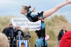 Amazing display from South Tyneside gymnastics team. South Shields, Littlehaven promenade opening day.