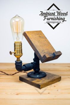 Dual Industrial Pipe Lamp With Apple watch dock charger & Phone Docking Station Industrial Pipe, Industrial Lighting, Pipe Furniture, Industrial Furniture, Wood Projects, Woodworking Projects, Cnc Woodworking, Support Telephone, Pipe Lighting