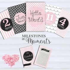 Girl Baby Milestone cards (26 cards), Baby Milestone Cards, Baby Photo props…