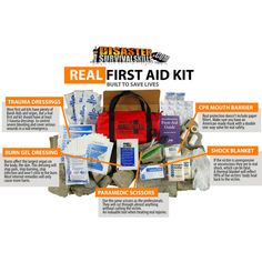 To be called the best First Aid Kit, the kit should be able to handle almost every type of true life threatening first aid emergency. Our 70 item first aid bag is built just like all our Disaster Survival Kits. Built to save lives. This kit does just that. You can safely perform CPR, control Severe Bleeding, treat Shock, treat serious Burns, stabilize Broken Bones, along with minor first aid emergencies.