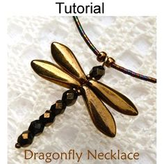 Dragonfly Necklace Beading Pattern  #Beading #Jewelry #Tutorials