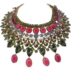 Unsigned Countess CIS Huge Glass Bib Necklace from vintagejewelrytoo on Ruby Lane