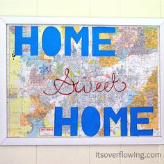 A Cute Little Anthropologie Knockoff...Wall Art!    Details here... http://www.itsoverflowing.com/2012/04/home-sweet-home-wall-art.html   #diy #anthropologie #decor #art #knockoff