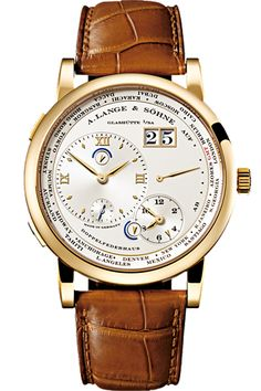 A. Lange & Sohne Lange 1 Timezone Yellow Gold - The Lange 1 Time Zone displays the local time at any given place in the world, while faithfully keeping track of home time as well. Crafted with consummate perfection, it is a worthy global ambassador for the values behind the watchmaking artistry of A. Lange & Söhne.