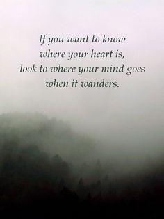 """""""If you want to know where your heart is, look to where your mind goes when it wanders. Heart Quotes, True Quotes, Funny Quotes, Qoutes, Where Is Your Heart, Deep Truths, Psychology Facts, Adventure Quotes, Disney Quotes"""