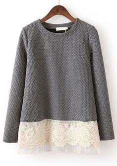 Grey Long Sleeve Contrast Lace Loose Sweatshirt -- Add length with a contrast fabric/ texture. looks great. Diy Fashion, Womens Fashion, Street Fashion, Fashion News, Mode Top, Sweatshirt Outfit, Grey Sweatshirt, Creation Couture, Mode Inspiration