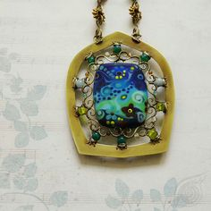 necklace Under sea; brass, agate, aquamarine, jade, lampwork bead; patina; by Nady; http://www.nady.cz/prodano/pod-morem-nahrdenik-233/