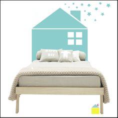 headboard children, dream bedroom, headboard idea, bed room, kid bedroom, wall decal, homes, cabecero infantil, kid room