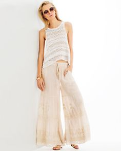 Love Sam Embroidered Wide Leg Pant