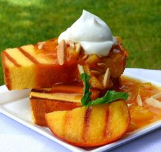 Grilled pound cake, warm peach coulis with a chantilly cream sauce is easier to make than it sounds. It is by far one of the best summer desserts you could serve on warm summer night. Freezer Desserts, Fun Desserts, Dessert Recipes, Cake Recipes, Jello Recipes, Brunch Recipes, Sara Lee Pound Cake, Best Summer Desserts, Chantilly Cream
