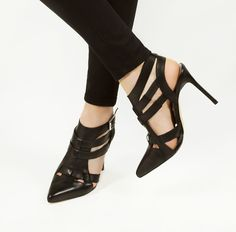women's heels Shoemint Garbo Sandals Wang Zara Asos h&m forever 21 mango Pointed Heels Outfit, Black Pointed Heels, Heels Outfits, Black Heels, Stiletto Heels, Strappy Heels, High Heels, Crazy Shoes, Me Too Shoes