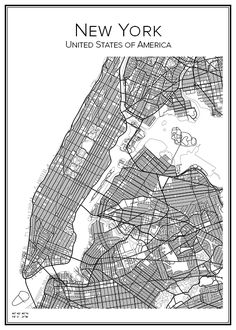 Hand drawn poster of New York in USA. Here you can order the city map of your city and other cities in your country. New York Poster, City Map Poster, Map Posters, New York City Map, City Maps, Ciudad New York, New York Drawing, Poster Minimalista, Manhattan City
