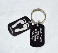 The LoveMotifs Metal Keychain set.  Has your child's actual footprints and name on one side and their birth info on the other.  Make great gifts for grandparents!