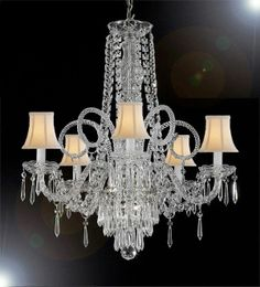 "Above the Bed or in the Sitting Area - Crystal Chandelier Venetian Style Chandeliers Lighting 24""X25"" W/ White Shades!"
