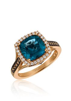 Le Vian® Deep Sea Blue Topaz™ with Vanilla Diamonds®, and Chocolate Diamonds® Ring in 14k Strawberry Gold®