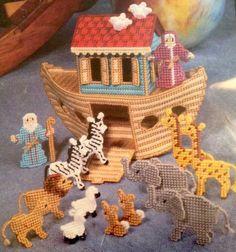 Bucilla Noah s Ark Kit Plastic Canvas New Opened #6085 9   Virginia M Lamp 1992