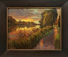 """Autumn In St. Charles"" - Jan Schmuckal - Original Oil - Tonalist Impressionist Artist"