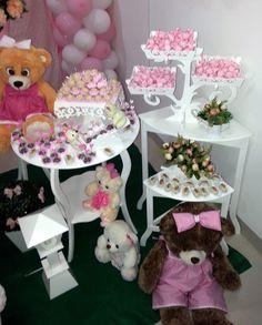 Decoração de festa infantil rosa e branco