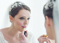 Stunning Zoe wears her Hermione Harbutt May Blossom Headdress : Kingscote Barn - [ JONATHAN TAPHOUSE ] Wedding Photographer