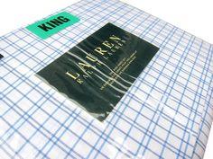 Ralph Lauren Plaid 4pc King Sheet Set Checked Striped Bedding Blue White NEW #RalphLauren #Contemporary
