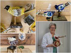 Artful Junk Birds with Lori Siebert | Registration is Open! Bird Crafts, Glue Crafts, Create Art Online, Online Art School, Wooden Bird Houses, Small Paint Brushes, Flock Of Birds, Second Hand Stores, Gel Medium