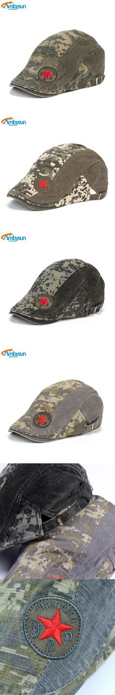 Fashion Mens Beret Caps Star Embroidery Hats Flat Cap Ivy Gatsby Newsboy Hunting Hat Vintage Acid Washed Camouflage Boina Hat $11.97
