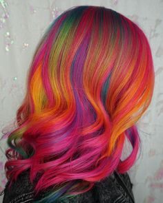 21 Rainbow Hair Ideas for a Bold Change-Up Vivid Hair Color, Bright Red Hair, Bright Hair Colors, Beautiful Hair Color, Cool Hair Color, Colourful Hair, Spring Hairstyles, Pretty Hairstyles, Hair Dye Tips