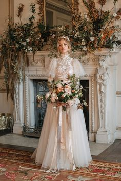 Wedding Dresses With Flowers, Fall Wedding Dresses, Bridal Dresses, Flower Girl Dresses, Autum Wedding, Fantasy Wedding, Dream Wedding, Organza Wedding Gowns, Autumn Bride