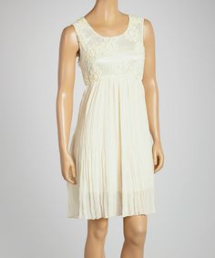 Take a look at the Ivory Lace Sleeveless Dress - Women on #zulily today!