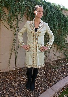 Very Fun Embroidered Khaki Coat Attention Getter Size by Megover, $30.00