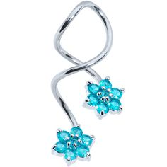 Aquamarine CZ Stone Rudder with Anchor Dangling 925 Sterling Silver Belly Button Ring Jewelry