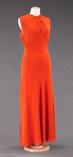Dress, Evening  Valentina (American, born Russia, 1899–1989)  Date: ca. 1935 Culture: American Medium: silk