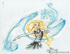 Expecto Patronum -Luna- by *SaraRichard on deviantART -- Luna Lovegood and her patronus