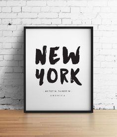 New York City NYC Print, New York Poster, Travel Poster, NYC Art, Large Wall Art Print, Black and White Art Typography Poster Art Home Decor