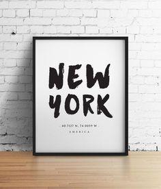 Impression de New York, noir et blanc Art, coordonnées personnalisé affiche, impression typographique Latitude Longitude Art Home Decor mural Art plus petits
