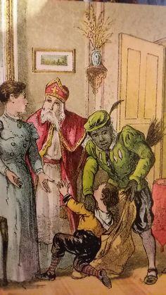 Sinterklaas illustratie ca. 1890 Christmas Fun, Christmas Cards, St Nicholas Day, Light In The Dark, Holland, December, Santa Clause, Elf, Posters