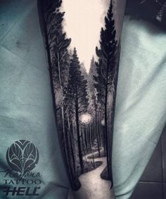 Baby driving down forest tattoo arm, tree tattoo arm, man arm tattoo, calf slee Forest Tattoo Sleeve, Nature Tattoo Sleeve, Forest Tattoos, Tattoo Nature, Tree Tattoo Sleeves, Sleeve Tattoo For Guys, Calf Sleeve Tattoo, Dark Forest Tattoo, Space Tattoo Sleeve
